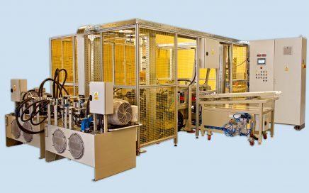 Czterostanowiskowa maszyna do seryjnego przewężania rur MPR I-4 - widok ogólny